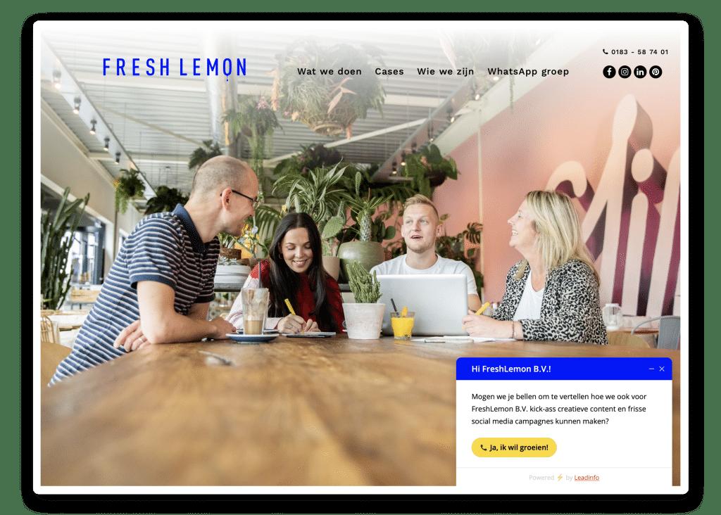 Lead gen form van Fresh Lemon - Leadinfo